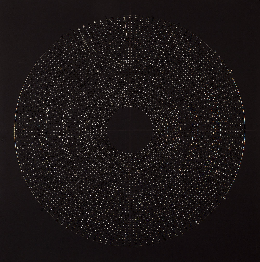 "Circle the Kaaba- Chartruese (Back)   Mixed media on paper (Black and chartreuesse beads and embroidery on black paper)  29"" x 29"" 2016  Walking With My Mother's Shadow-Artist Statement"