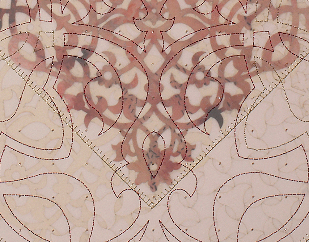 "I Will Find the Flowers (Detail)   Mixed media on paper (Laser-cut patterns on paper with mylar, encaustic, embroidery, and pink and silver beads)  29"" x 29"" 2016  Walking With My Mother's Shadow-Artist Statement"