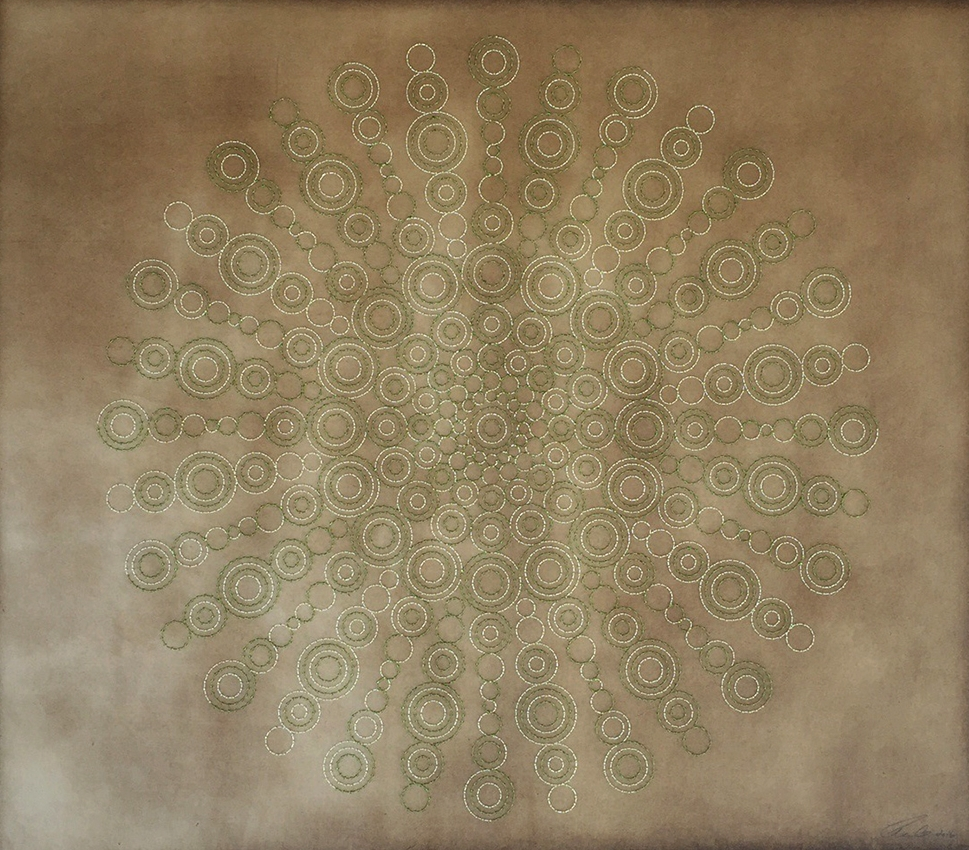 "Illumination-Green   Mixed media on paper (Green and white thread with green and light green beads on brown Korean hand-made paper)  36"" x 41.5"" 2016  Walking With My Mother's Shadow-Artist Statement"