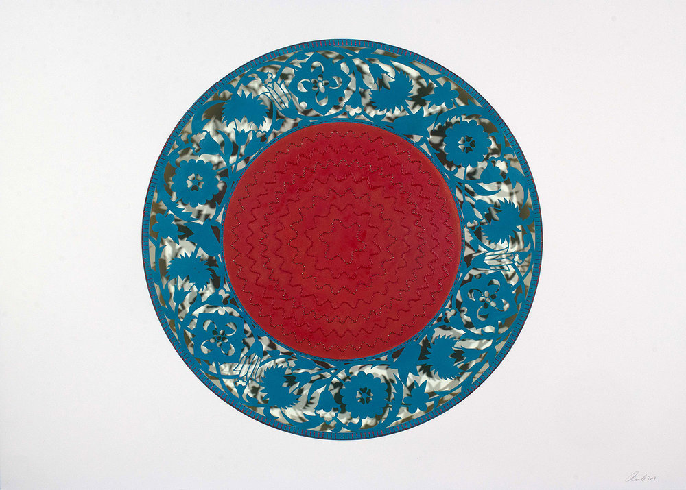 "Flowers (Blue and Red Circle)  Mixed Media on Paper (Encaustic blue outside circle with red center, red and blue beads on center) 41.5"" x 29.5"""