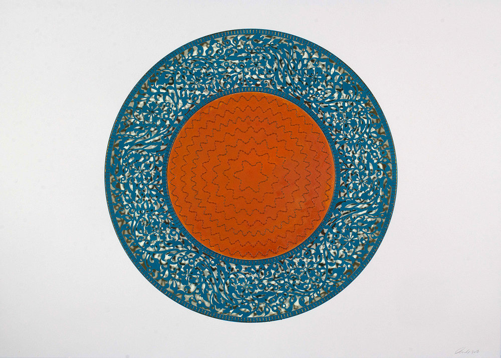 """Blue with Orange Circle   Mixed media on paper (Blue and orange beads and embroidery on blue and orange paper)  41.5"""" x 29.5"""""""