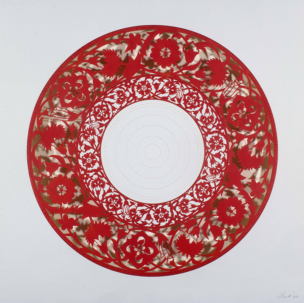 """Bright Red Flower Circle   Mixed media on paper (Red circle with outer cutouts, red beads, and white stitching on center)  29.5"""" x 29.5"""""""