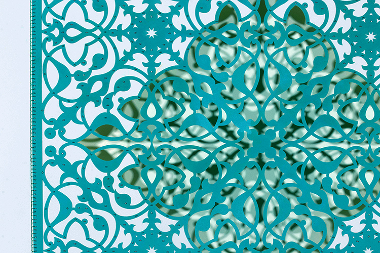 """Ephemeral Bloom - Teal (Detail)   Mixed media on paper (Teal, diamond shape cutout with no backing, with silver and teal beading)  29.5"""" x 29.5"""""""