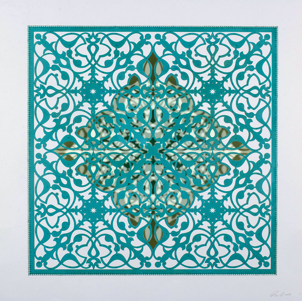 """Ephemeral Bloom - Teal   Mixed media on paper (Teal, diamond shape cutout with no backing, with silver and teal beading)  29.5"""" x 29.5"""""""