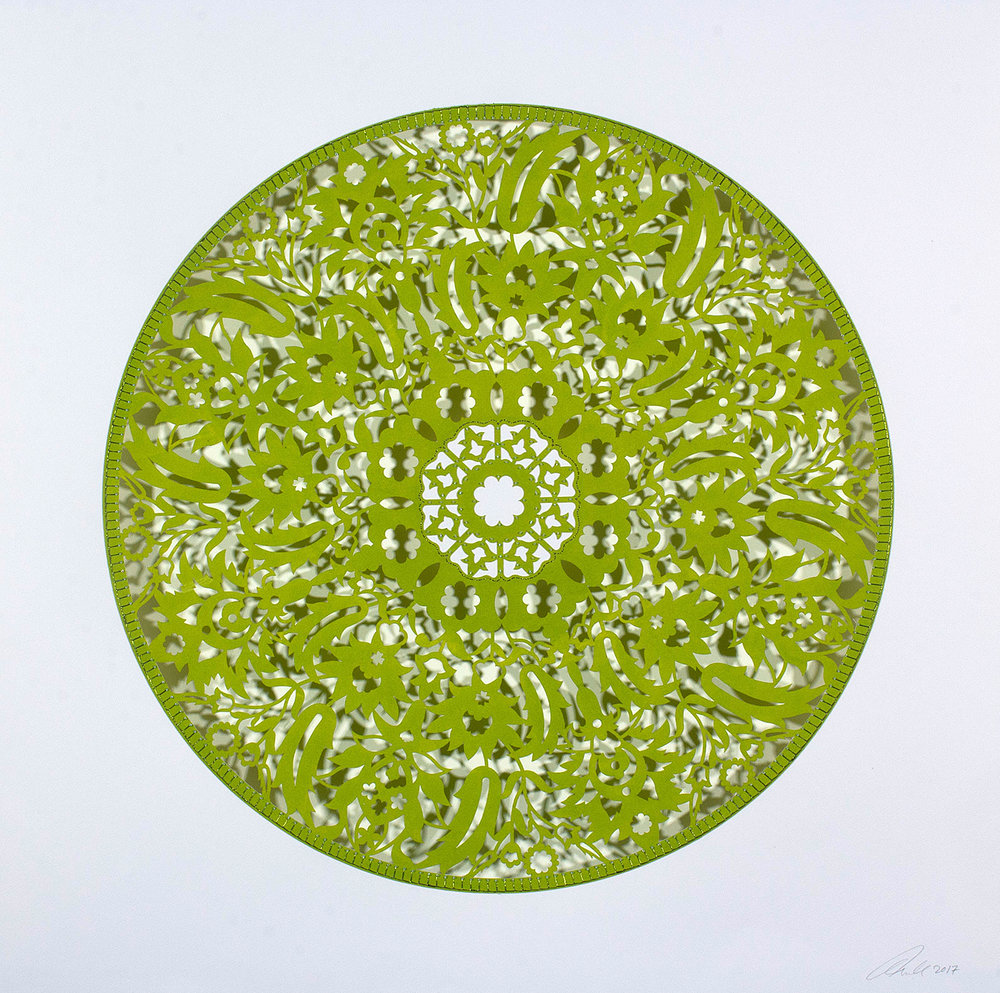 "Flowers (Chartreuse Circle)  Mixed Media on Paper (Encaustic green circle with green beads on center) 29.5"" x 29.5"""