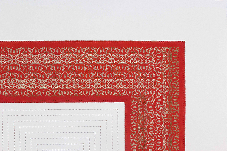 """One Red Square and Multiple White Squares (Detail)   Mixed media on paper (Red square with white stitching on center)  29.5"""" x 29.5"""""""