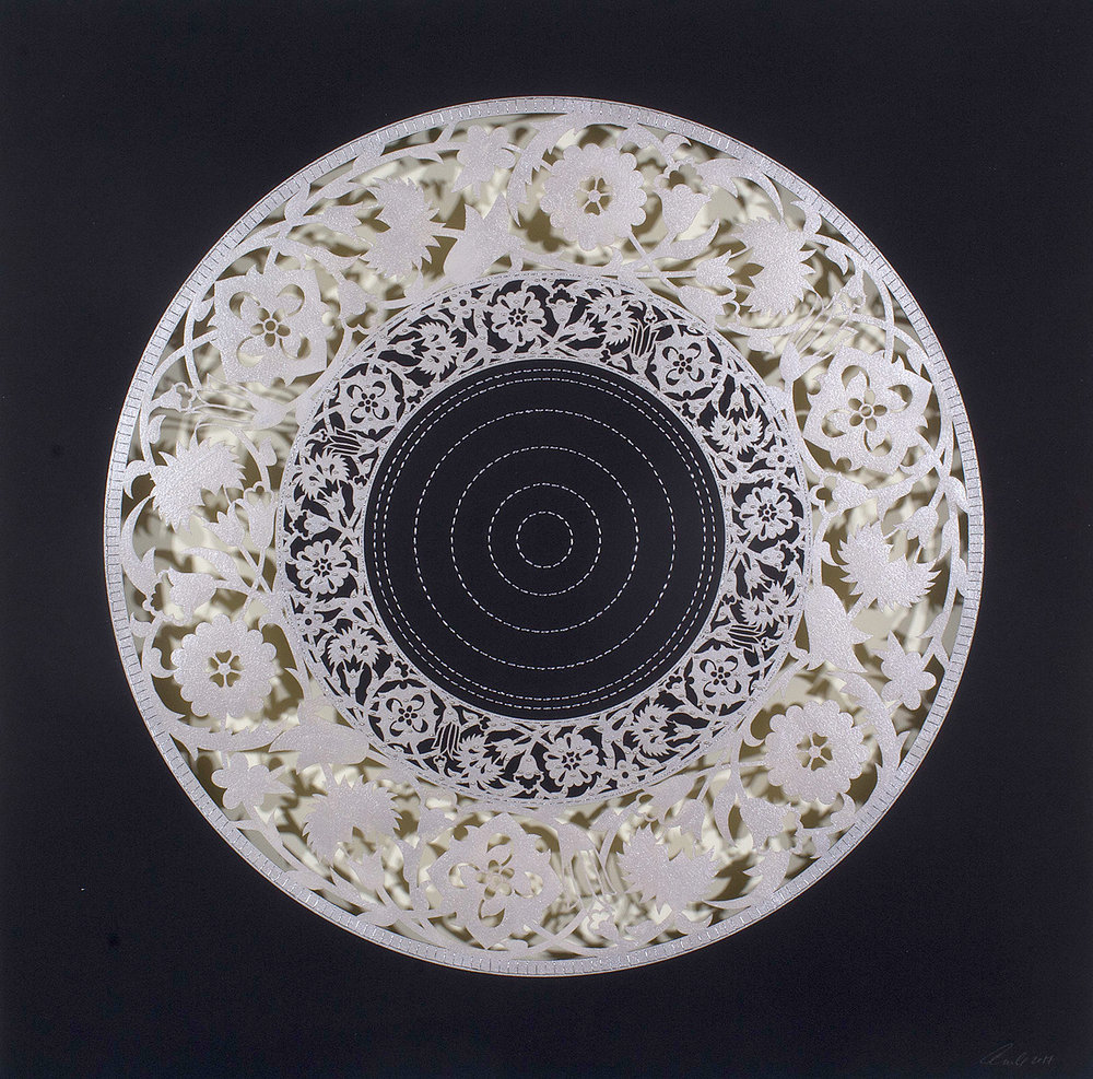 """Silver Flower Circle   Mixed media on paper (Silver circle on black paper with outer cutouts, silver beads and silver stitching)  30"""" x 30"""""""