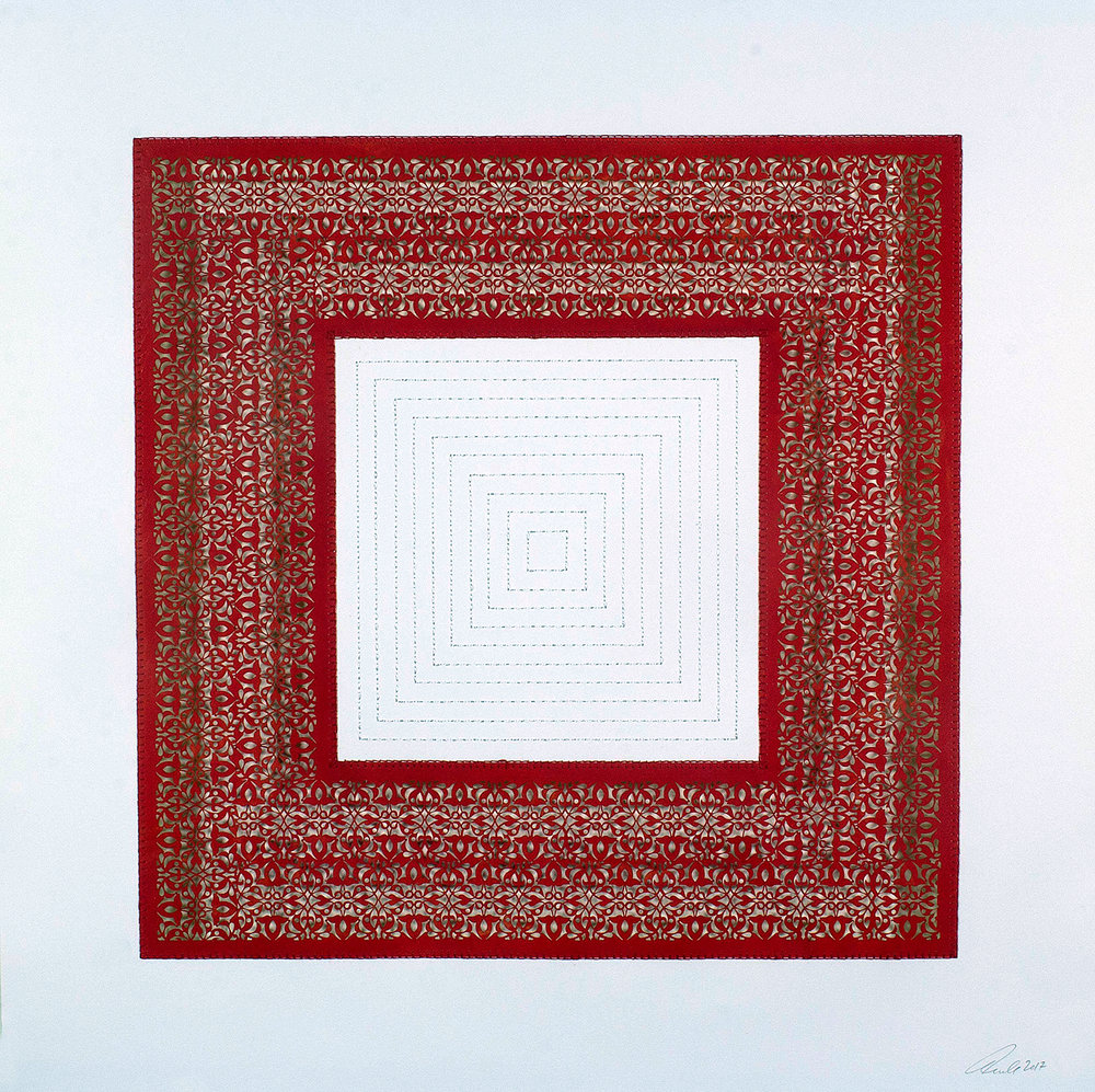 """One Red Square and Multiple White Squares   Mixed media on paper (Red square with white stitching on center)  29.5"""" x 29.5"""""""
