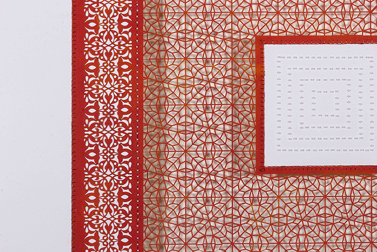 """Three Red Square and One White Square (Detail)   Mixed media on paper (Red square with white beads on center square, and second square cutout with no backing)  29.5"""" x 29.5"""""""