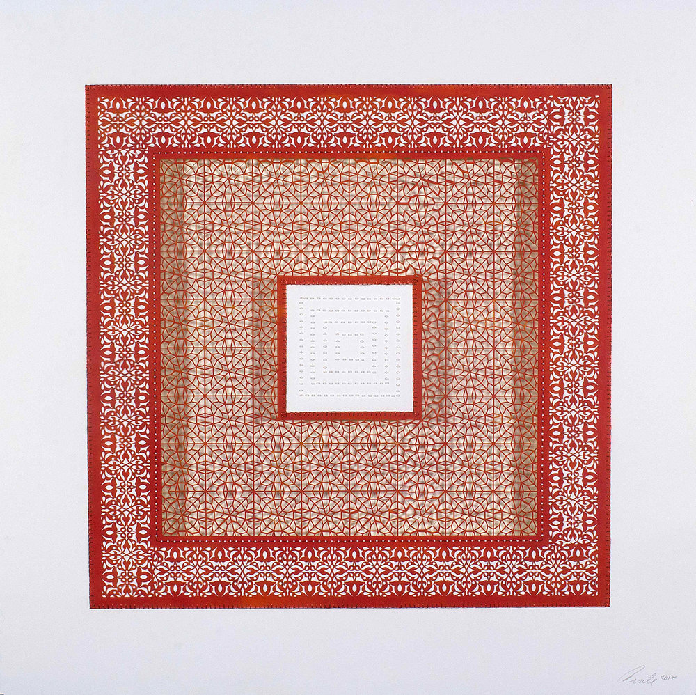 """Three Red Square and One White Square   Mixed media on paper (Red square with white beads on center square, and second square cutout with no backing)  29.5"""" x 29.5"""""""