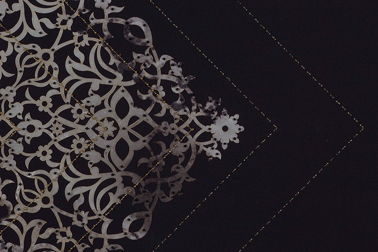 """Black and Gold Cutout Diamond (Detail)   Laser cut paper, gold and black beads on black paper  34"""" x 30"""""""
