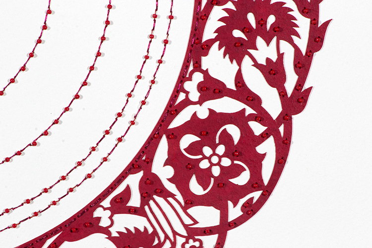 """Dark Red Flower (Detail)   Laser cut paper with red beads on white paper  30"""" x 22"""""""