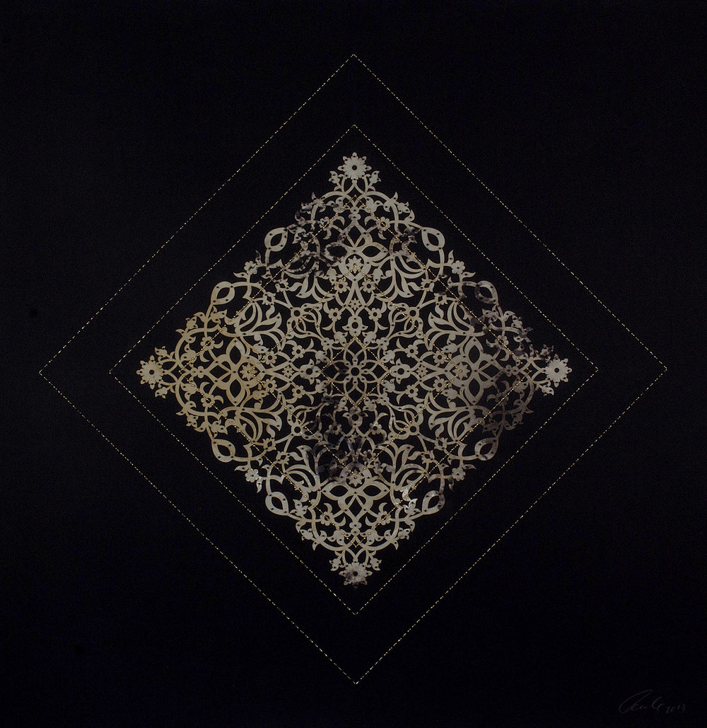 "Flowers (Black and Gold Cutout Diamond)  Mixed Media on Paper (Encaustic gold square stitching and square laser cuts, gold and black beads on black paper) 34"" x 30"""