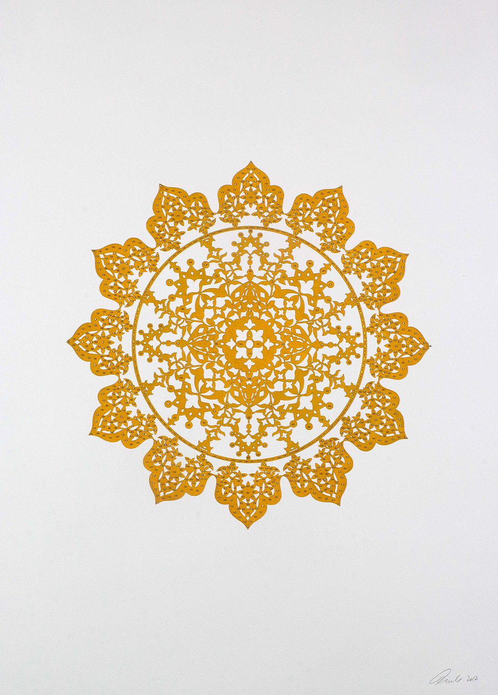 """Mustard Yellow Flower   Laser cut and mylar circle with gold beads   30"""" x 22"""""""