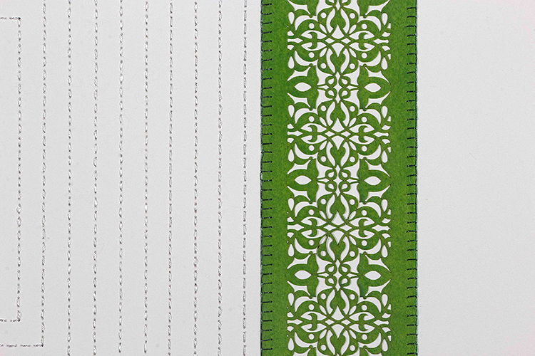 """One Green Square and Multiple White Squares (Detail)   Laser cut square with white stitching  29.5"""" x 29.5"""""""