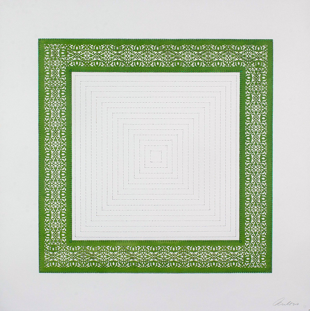 """One Green Square and Multiple White Squares   Laser cut square with white stitching  29.5"""" x 29.5"""""""