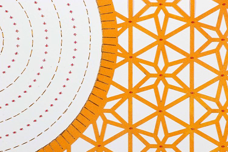 """Flowers (Orange Circle) (Detail)  Mixed Media on Paper (Encaustic orange circle with pink beads on center) 29.5"""" x 30"""""""