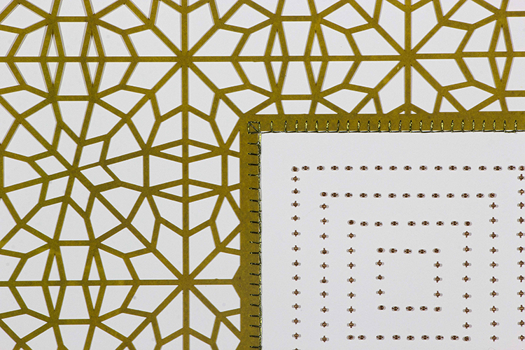 """Pea Green Square (Detail)   Laser cut square with brown beads  29.5"""" x 29.5"""""""