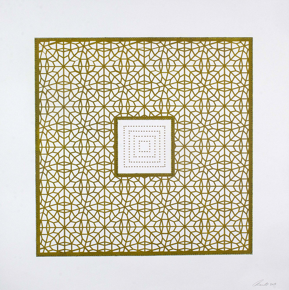 "Flowers (Pea Green Square)  Mixed Media on Paper (Encaustic pea green square with brown beads on center) 29.5"" x 29.5"""