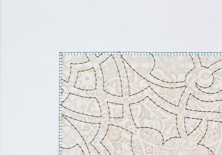 "Turquoise Rectangle (Detail)   Laser cut and mylar, teal and gold stitching with teal beads  30"" x 22"""