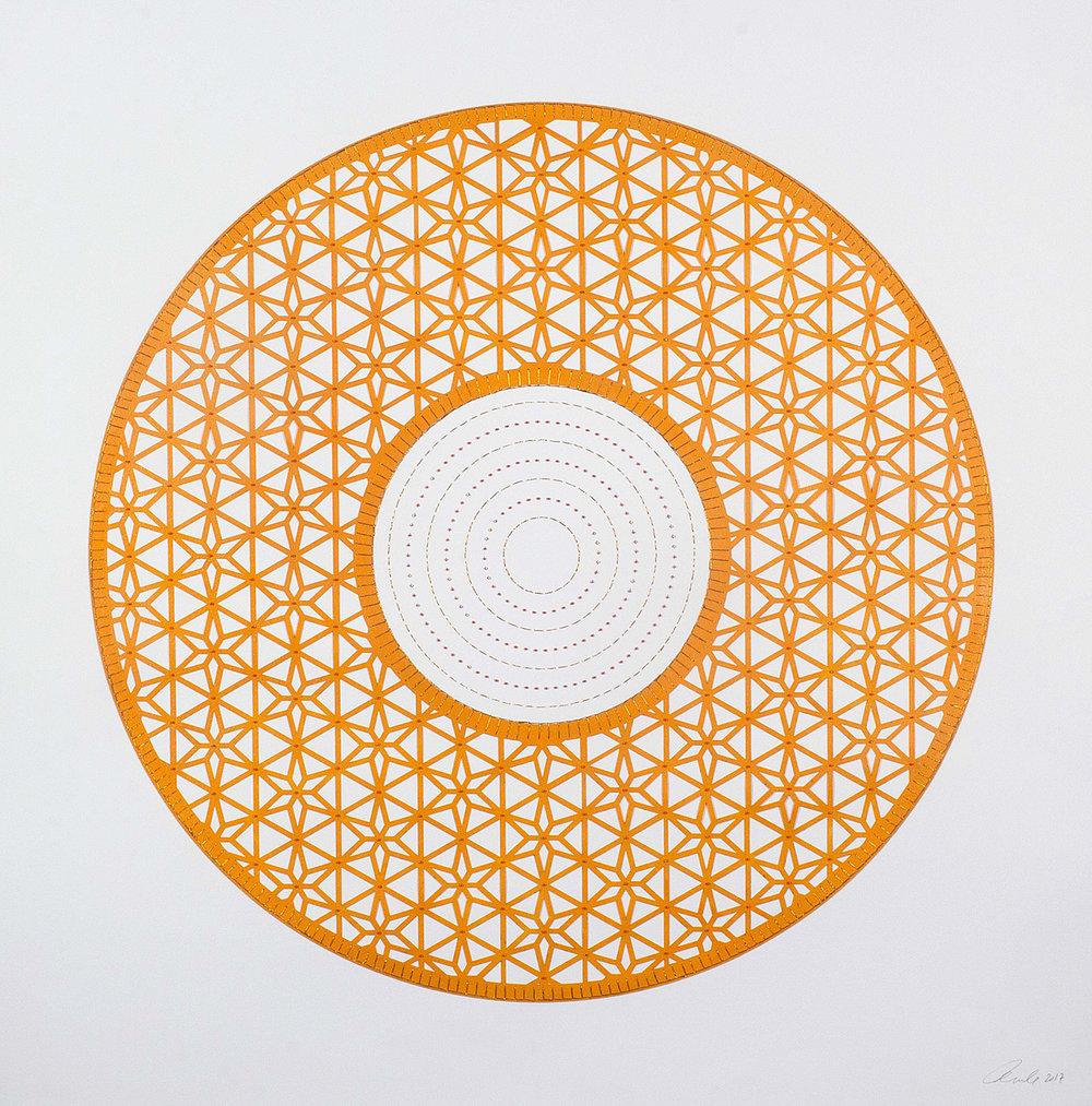 """Orange Circle   Laser cut circle with pink beads  29.5"""" x 30"""""""