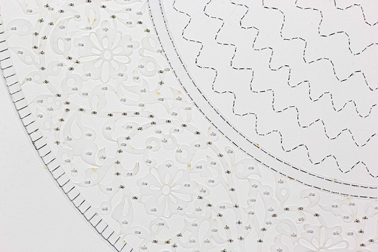 "White Circle (Detail)   Laser cut and mylar, silver stitching with silver and white beads  41.5"" x 29.5"""