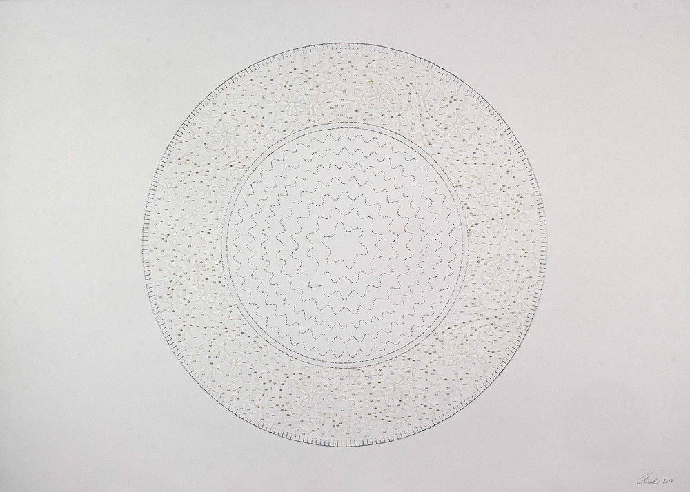 "White Circle   Laser cut and mylar, silver stitching with silver and white beads  41.5"" x 29.5"""