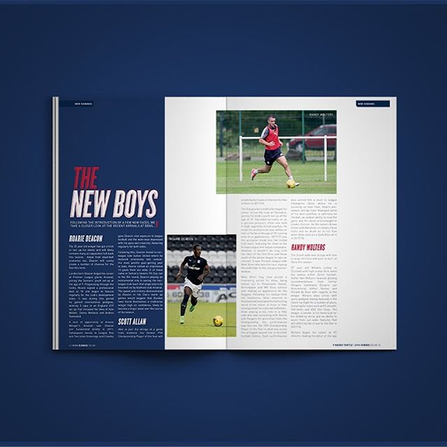 New Boys Feature | Issue 02 | The Dee | v Buckie Thistle . #dundee #thedee  #blue #red #navy #dfc #dufc #football #futbol #soccer #futball #design #designer #graphic #graphicdesigner #magazine #photoshop