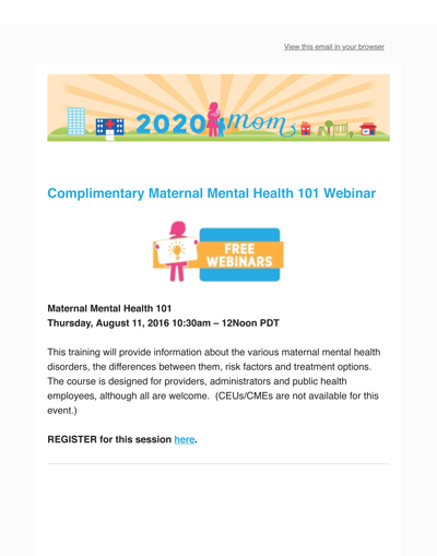 7.26.16 Free MMH 101 Webinar-2020 Mom Ambassador Program Launches-In the News