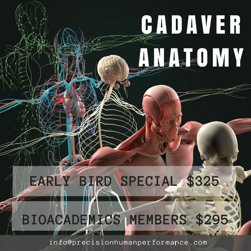 Cadaver Anatomy - Participants will spend an 8-hour day in the lab exploring the mechanics of the body with dissected human cadavers. This workshop will lead participants in analyzing current techniques in mobility and strengthening. Key areas the course will look at are muscle attachment sites, muscle fiber direction, fascial attachment sites, fascial fiber direction, joint axes, common anatomical occurrences, and anomalies.May 5th at The University of Chicago IllinoisInstructor: Michelle Amore9:00am to 5:00pm SIGN UP HERE
