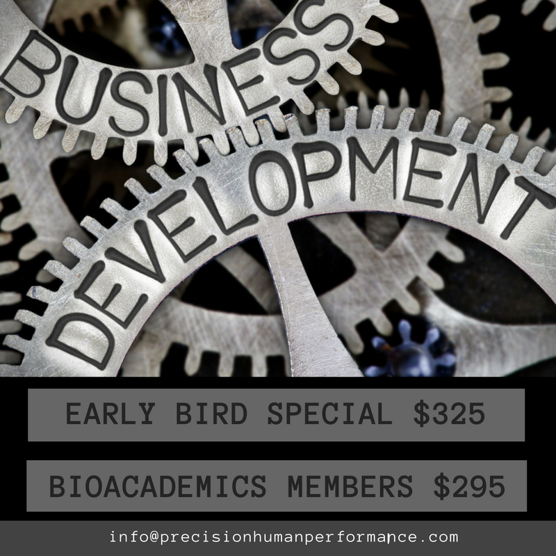 Business Development: The Fitness Industry - This workshop explores various aspects of business development and growth in the fitness industry.  Participants will learn how to differentiate between the roles of a technician, manager, and entrepreneur.  Topics will include professionalism, time management, communication, building rapport, client retention, and the business development process. September 22th Precision Human PerformanceInstructor: Michelle Amore & Ryan Kroth8:30am to 5:30pm SIGN UP HERE