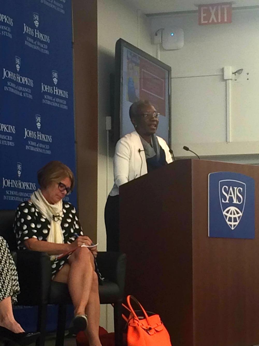 Sandra Pepera of NDI leads the panel discussion