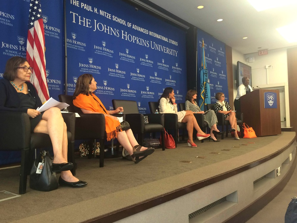 From left to right: Patricia Ellis, President, Women's Foreign Policy Group; Evelyn Suarez, President, Women in International Trade; Federiga Bindi, Sr. Fellow, CTR at SAIS; Director, Foreign Policy Initiative, IWPR; Jean Monnet Chair, University of Rome Tor Vergata; Gwen K. Young, Director WPSP & Global Women's Leadership Initiative, Wilson Center; Chantal de Jonge Oudraat, President, Women in International Security; Sandra Pepera, Director, Gender, Women, and Democracy, National Democratic Institute.
