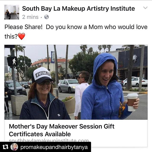 #Repost @promakeupandhairbytanya with @repostapp ・・・ Mother's Day Gift Idea!!! Please Share if you know some Moms out there who would love some pampering time ❤️ Link to this event is below in the comments⬇️ #happymothersday #momlife #california #makeup #makeover #skincare #redondobeach #hermosabeach #manhattanbeach #palosverdes #rollinghills #torrance #southbay #losangeles