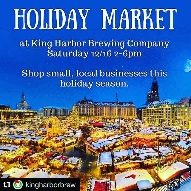 We are loving that we are a part of this event!  EVERYONE should be there. Holiday shopping, giveaways and So. Much. Holiday. Cheer!!! #Repost @kingharborbrew (@get_repost) ・・・ Sip while you shop local, independent, small businesses this holiday season.  9 awesome companies with amazing gifts and food by @juspoke.  Stay tuned as we announce vendors. 🤙 _____________  #independentbeer #craftbeer #losangeles #redondobeach #HermosaBeach #manhattanbeach #torrance #southbay #holidaymarket #shopsmall #sipandshop