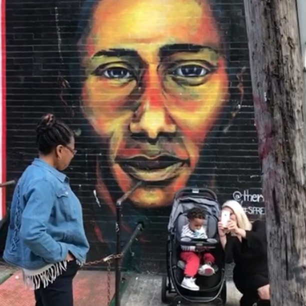 I caught the #smile from my mother.  Don't Quit! ❤️ #theroncook #art #portrait #mosdef #yasinbey #mural #bk #pa #nyc  #october14th #happybirthday #tbt #handpainted #fineart