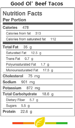 Beef Tacos Nutrition Facts