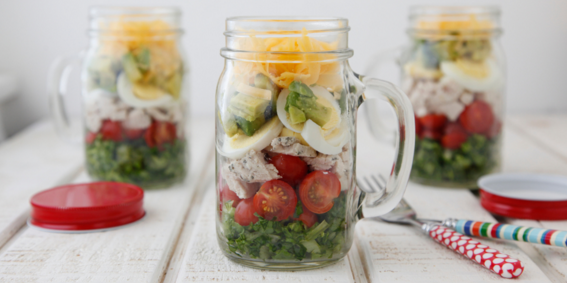 Cobb Salad in a Jar (umm… amazing use for mason jars!)
