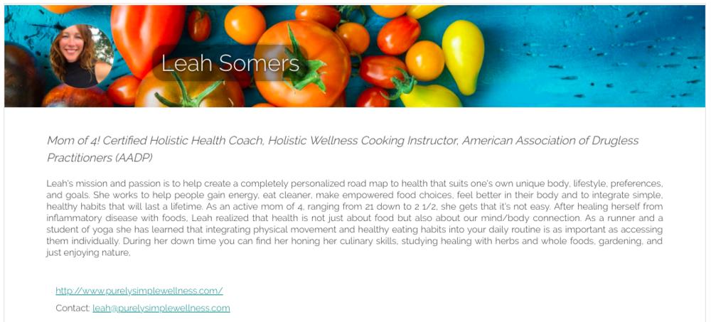Visit Leah on Meal Garden -