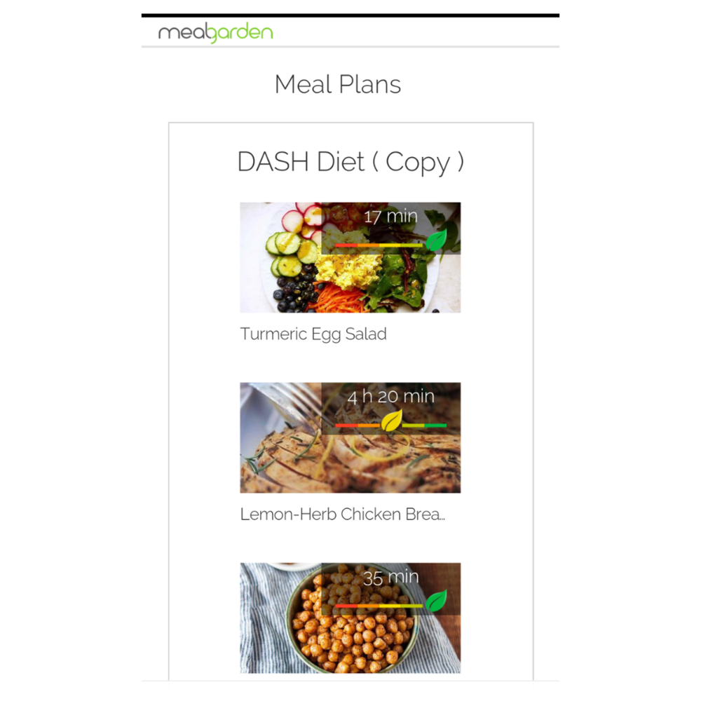 Meal planning app template