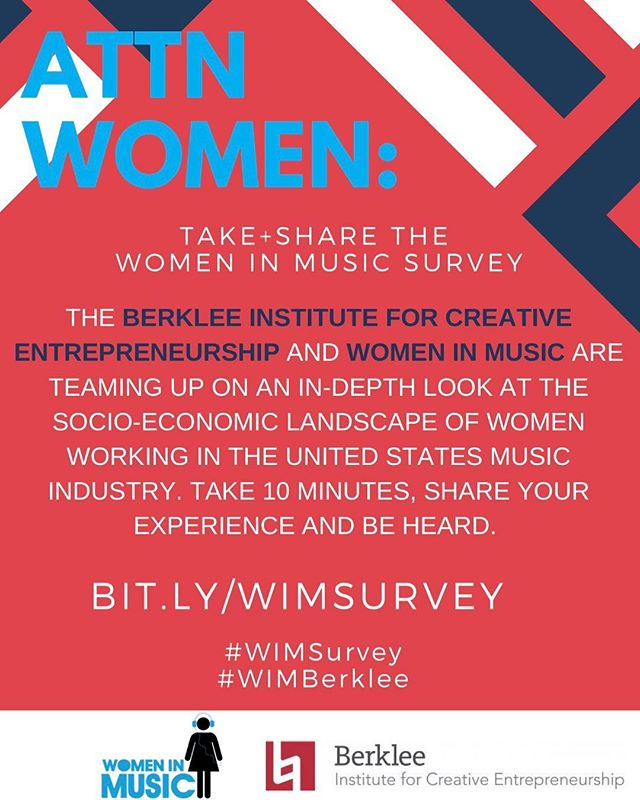 Are you a woman working in the music biz? Take this survey from @berkleecollege and @womeninmusic in the link in our bio to add your voice and be heard.  #WIMSurvey #WIMBerklee #womeninmusic