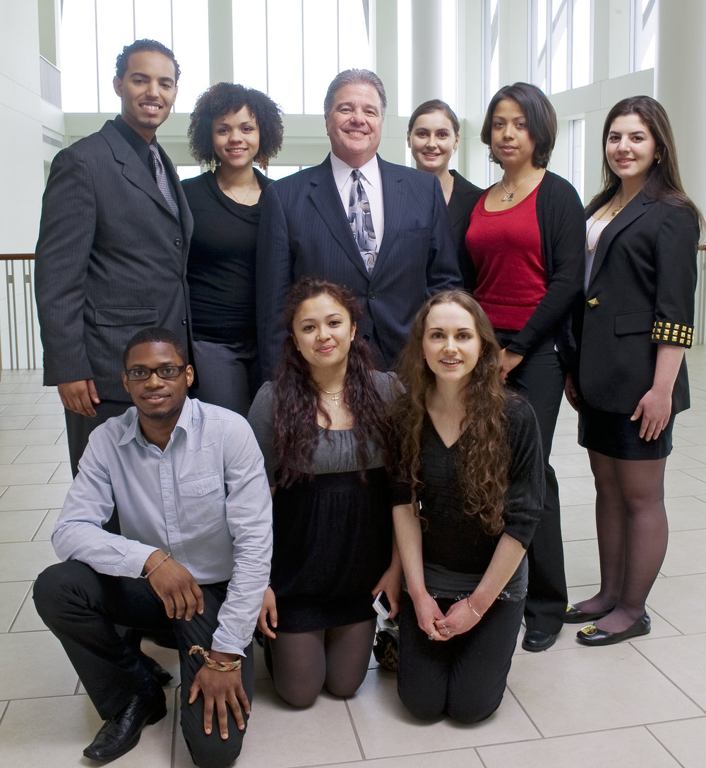 President of UMass Boston Claret w/students