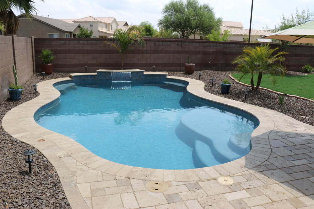 Simple backyards presidential pools spas patio of arizona for Best backyard pool designs