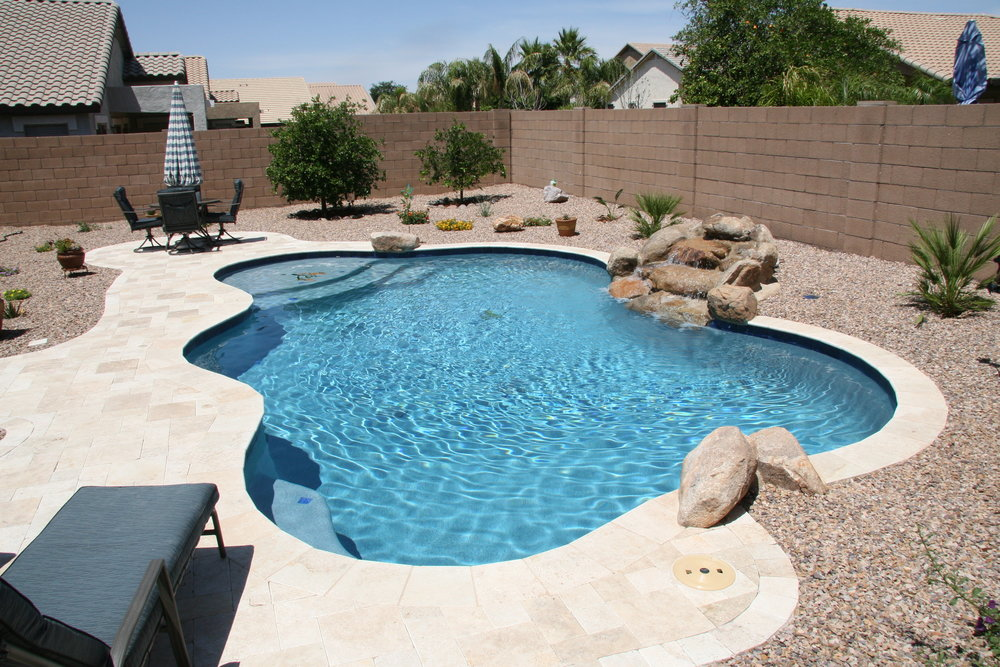 Simple backyards presidential pools spas patio of arizona for Pool design basics