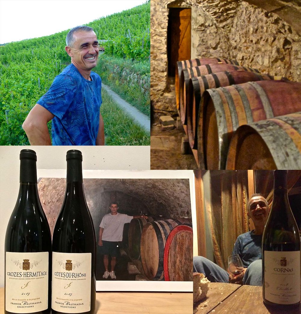 One of the top growers in this movement is Franck Balthazar, who left his engineering career in 2002 to answer the siren song of Cornas steep granite slopes and take up the classic farming and winemaking methods of his father Rene. A dozen years later, Balthazar is making some of the most expressive, and rigorously traditional wine in Cornas. Check it out for yourself!
