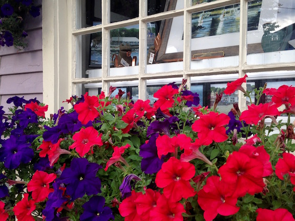 I shy away from petunias in general, but they work so well in this Kennebunkport window box
