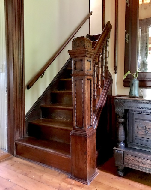 Newel Post and balusters installed by Michael