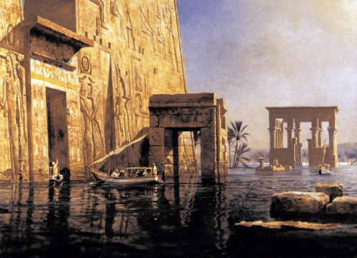 While in Egypt, Pauline would take her guests to explore the flooded temples along the Nile, as in this painting