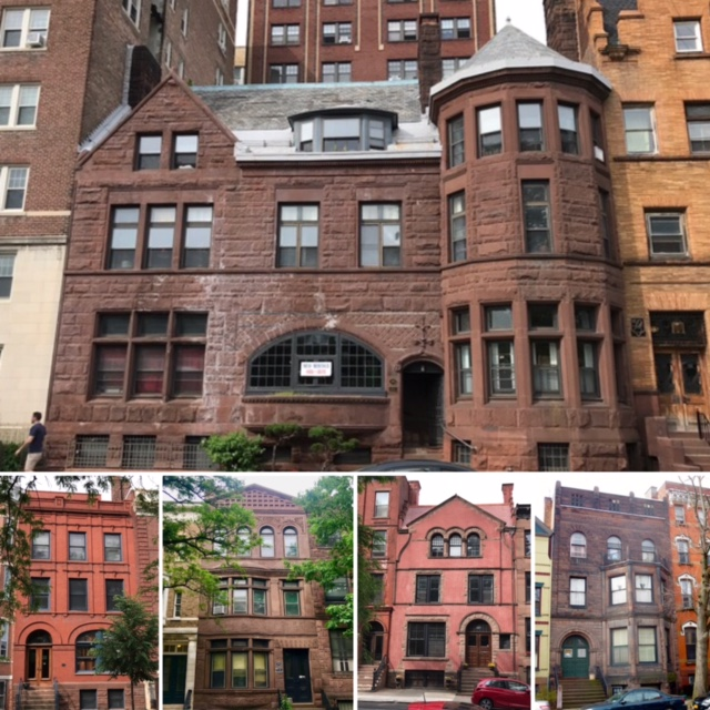 A number of homes on the street with Romanesque elements - the large brownstone on top designed by HH Richardson.