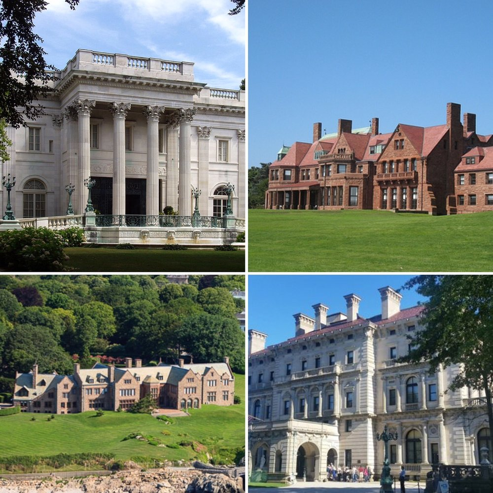 Clockwise, from Upper Left: Marble House, built by William K Vanderbilt, Vinland, home of Florence Vanderbilt Twombly, The Breakers, Rough Point, built for Frederick Vanderbilt